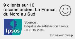 9 clients sur 10 recommendent La France du Nord au Sud